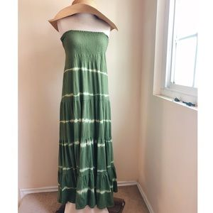 Speed Control Tie Dye Tiered Maxi Strapless Dress